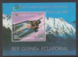 BLOC OBLITERE DE GUINEE EQUATORIALE - BOBSLEIGH A DEUX (J. O. DE LAKE PLACID 1980) - Wintersport (Sonstige)