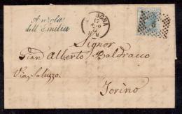 1971 - ANZOLA DELL'EMILIA, BOLOGNA, LINEARE AZZURRO COLLETTORIE, SU PIEGO VIAGGIATO 17/08/1871, PER TORINO - 1861-78 Vittorio Emanuele II