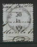 AUSTRIA 1864 REVENUE 50KR BLUISH PAPER NO WMK PERF 12,00 X 12.00  BAREFOOT 100 - Fiscaux