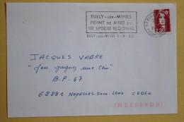62 Pas De Calais - Flamme 1990 - BULLY LES MINES - Point De Mire Du Tir Sportif Régional - Postmark Collection (Covers)