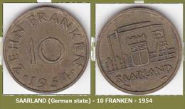 SAARLAND (German State) - 10 FRANKEN - 1954. - Sarre