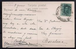 MALLORCA - BARCELONA, TARJETA POSTAL CIRCULADA, MATASELLOS VAPOR CORREO BALEARES - BARCELONA - Brieven En Documenten