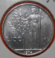 100 LIRE 1974 MINERVA  ITALIEN FDC( FIOR DI CONIO STEMPELGLANZ-UNCIRCULATE D) DIREKTKAUF - 1946-…: Republik