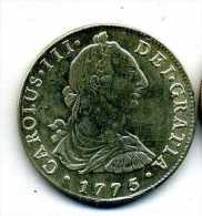 FAUX ECUS ESPAGNE CAROLUS III 1775 PLAQUE ARGENT - Monedas