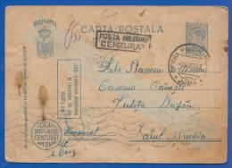 Rumänien; Carte Postala Militara Gratuita Oficiul Militar 661; 1943 Mit Stempel Cenzurat - Enteros Postales