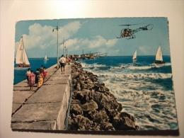 Elicottero  In Volo Helicopters Mareggiata Al Molo Rimini - Elicotteri