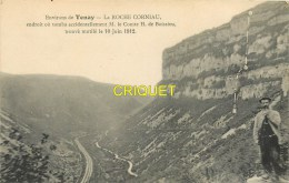 Cpa 01 Tenay, La Roche Corniau, Endroit Où Tomba Le Comte De Boissieu - Otros Municipios