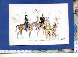 Gendarmerie C - Carte Pour Voeux - Gendarme Départemental à Cheval - Dessin Par Petot En 2000 - Chasseur Chien - Police