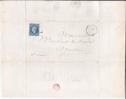 France - Lettre N° 22 Obl 1863 - Cachets: PC 2485 / Montluel / Moutier Tarentaise - 1849-1876: Classic Period