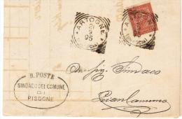 1895- PIEGO DA PISOGNE AD ARTOGNE ANNULLO - DOCUMENTO INTERESSANTE - 1878-00 Umberto I