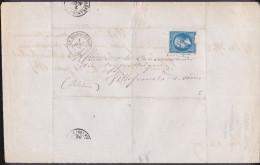 France - Lettre N° 22 Obl 186x - Cachets: GC 511 / Le Bois D'Oingt / Villefranche Sur Saone - 1849-1876: Classic Period