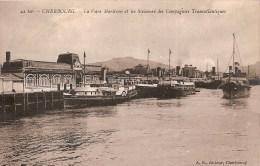 Cpa Cherbourg Gare Maritime Les Steamers Des Compagnies Transatlantiques    ( Ref 372 ) - Cherbourg