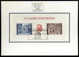 30258) Österreich - Michel Block 3 = 1507 / 1508 - FDC-Karte - 200 Jahre Burgtheater - FDC