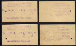 TRANSPORTS CITROËN - STRASBOURG - ALSACE / 1950 - 2 TICKETS DE BUS (ref 5337b) - Bus