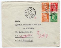 1950 - ENVELOPPE De SAINT ETIENNE (LOIRE) Pour MELBOURNE (AUSTRALIE) Avec AFFRANCHISSEMENT TRICOLORE MAZELIN + GANDON - France