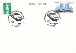 Railroad - Train Cover: France 1996 Nantes TGV Nantes-Lille - Train In Cachet (G60-28) - Eisenbahnen
