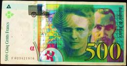 Billet De 500 Frs De 1994 Serie F023421916 Pierre Et Marie CURIE  Paper Money, - 1992-2000 Dernière Gamme