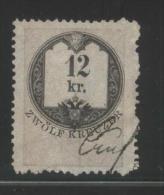 AUSTRIA 1866 REVENUE 12KR THIN SULPHUR-YELLOW PAPER  NO WMK PERF 12.00 X 12,00 BAREFOOT 137B - Fiscaux