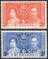 St. Helena, 2 Stamps 1937, Sc # 116-117, Mi # 95-96, MH - Saint Helena Island