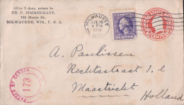 Entier Postal USA Censor + Timbre, Milwaukee - Maastricht NL 1919 (173) - Entiers Postaux