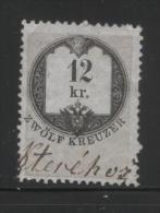 AUSTRIA 1866 REVENUE 12KR ON THIN GREY PAPER WITH BLUISH TINGE NO WMK PERF 12.00 X 12.00 BAREFOOT 121 (A) - Fiscaux