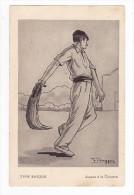 Type Basque Joueur à La Chistera Illustrateur F. Huygen Fronton Pelote Basque - France