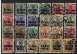 Besetzung Belgien 24 Werte ** postfrisch / gestempelt used