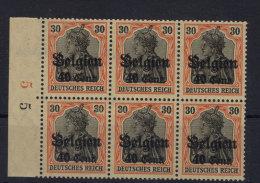 Deutsche Post Belgien Michel No. 19 ** postfrisch Sechserblock