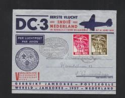 Nederlands-Indie Brief 1937 Erste Vlucht Indie- Nederland DC 3 - Niederländisch-Indien