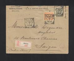 Nederlands-Indie Brief 1908 Malang Via Singapore Saigon - Niederländisch-Indien