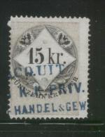 AUSTRIA 1866 REVENUE 15KR ON THIN SULPHURISH YELLOW PAPER NO WMK PERF 12.00 X 12.00 BAREFOOT 138(B) - Fiscaux