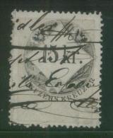 AUSTRIA 1866 REVENUE 15KR ON THIN GREY PAPER WITH BLUISH TINGE NO WMK PERF 12.00 X 12.00 BAREFOOT 122(A) - Fiscaux