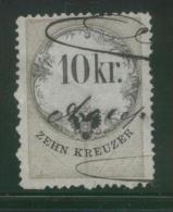 AUSTRIA 1866 REVENUE 10KR ON THIN SULPHURISH YELLOW PAPER NO WMK PERF 12.00 X 12.00 BAREFOOT 136(B) - Fiscaux