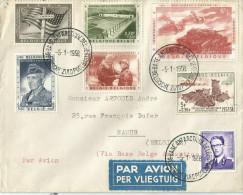 -Enveloppe Ayant Circulé ,série N° 1032/36,année1957le 26/10+1 Timbre (expédition Antartique 57/8)+15frs. - Documents De La Poste