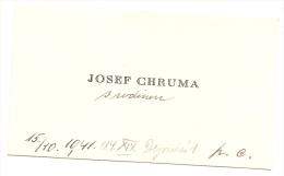 Czechoslovakia Visiting Card - Josef Chruma 1941 - Tarjetas De Visita