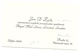 Czechoslovakia Visiting Card - Jan B.Žyla - Representant Royal Mail Lines,Limited,London - Tarjetas De Visita