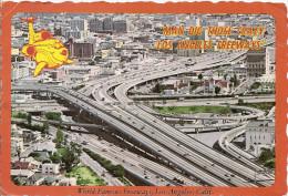 CALIFORNIA-LOS ANGELES: POSTCARD SPECTACULAR AERIAL VIEW OF THE HARBOR. SANTA MONICA FREEWAY INTERCHANGE. GECKO.