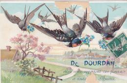 23408 DOURDAN - De Dourdan Je Vous Envoie Ces Fleurs Toute Amitie -hirondelle Oiseau