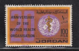 Jordan Used Scott #551 100f '20' And WHO Emblem - 20th Anniversary World Health Organization - Jordanie