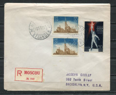 Russia 1939 Registered Cover Moscow New York USA Sc 14,15X2 - 1923-1991 USSR