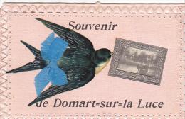 23412 DOMART Sur LUCE ( 80 ) Souvenir -abreuvoir Hirondelle Noeud - Sans Ed -coins Supérieurs Abimés