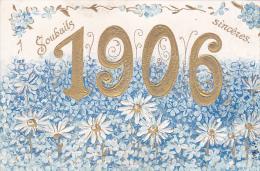 23414 Souhaits Sinceres 1906 -myosotis Miosotys  Doré Or Relief - Sans Ed - - Nouvel An