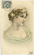 FEMME-Précurseur Dos 1900 Non Divisé-Coiffure De Fleurs-couleur - Mujeres