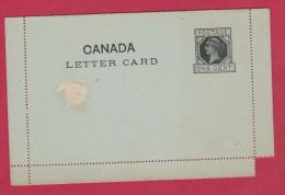 CANADA  //  CARTE LETTRE //  VIERGE - 1860-1899 Regering Van Victoria