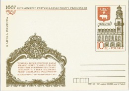 Poland Pologne, 320 Years Of King Jan Kazimierz Waza Post In Przemysl. King's Coat Of Arms. Postal Stationery 1987 - Poste