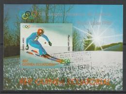 BLOC OBLITERE DE GUINEE EQUATORIALE - SKI DE DESCENTE (J. O. DE LAKE PLACID 1980) - Ski