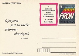 Poland Pologne, National Renaissance Patriotic Movement, Martial Law In 1981. Postal Stationery 1983. - Stamped Stationery