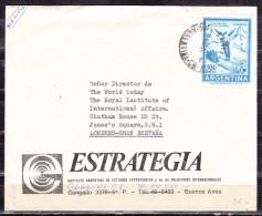 Luftpost, EF Skispringer, Buenos Aires Nach Londres London, Stempelfehler Jahreszahl Kopfstehend, 1970 (50260) - Argentina