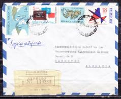 Luftpost, Einschreiben Reco, Expres, MiF Malvinas U.a., Buenos Aires Nach Hannover, AK- + Eilbotenstempel 1964 (50301) - Argentinien