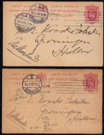 2 X POSTAL  STATIONARY 1P IRELAND USED TO GRONINGEN HOLLAND - FAULT IN ONE DATE (1919 INST. OF 1910) - Entiers Postaux